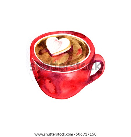 Beautiful Red Cup Hot Chocolate Marshmallows Stock Illustration