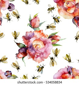 Beautiful, red, decorative, garden flowers roses and honey, summer, rustic, wild, insect bees. Watercolor. illustration