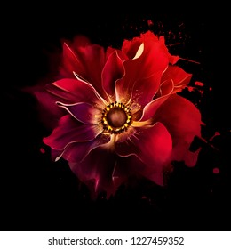 Beautiful red flower with splashes of paint on black background. Idyllic artistic image of hot summer, copy space