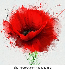 Beautiful red poppy, closeup on a white background, with elements of the sketch and spray paint, as illustration for the cover of a notebook or Notepad, or print for garment