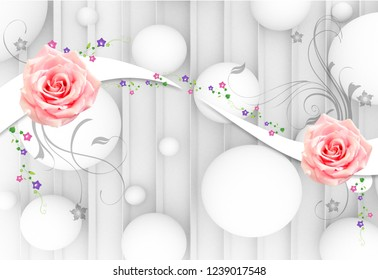 Beautiful red rose in decorative 3D silver background wallpaper