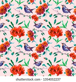 Beautiful red roses seamless pattern with bird on tree branch on pink. Spring garden floral print for wallpapers, cards, textile, fabric. Hand painted botanical background in vintage style.