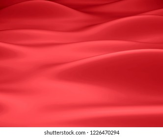 Beautiful Red Satin Fabric for Drapery Abstract Background. Color Silk Fabric.