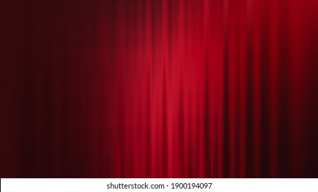 Beautiful red velvet curtain in the theater. Streaked red drapes in dark background with the spotlight. Gradient abstract background for Valentine and Christmas.