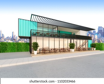 Beautiful restaurant made from Shipping Containers , 3d rendering
