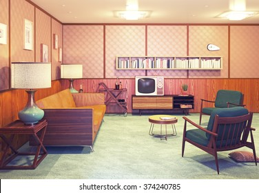 beautiful retro interior at the evening. 3d rendering