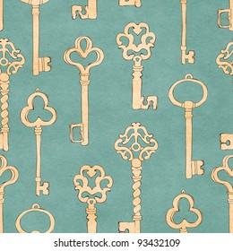 Beautiful retro seamless background with keys pattern