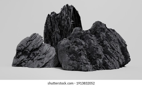 Beautiful rock big stone white background Help you to edit more easily 3D rendering.