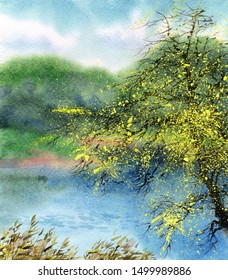 Beautiful romantic bright watercolour scene in japanese handmade style on paper backdrop with space for text. Blue heaven over wild lush white flourish apple seedling on mist island on quiet stream