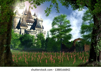 A beautiful , romantic view of a fairy tale castle from the woods, 3d render
