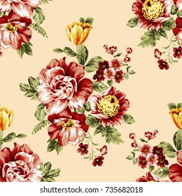Beautiful rose floral pattern, red anemone flower vintage texture with soft ground