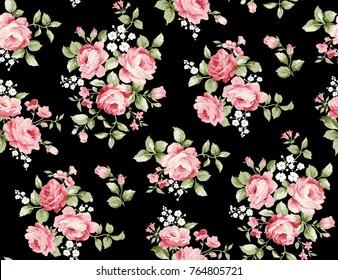Beautiful rose flower pattern , little floral bouquet vintage for fashion