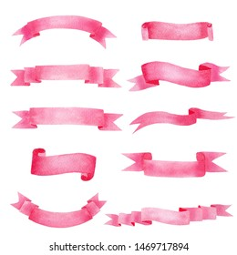 Beautiful rose pink ribbon watercolour raster illustrations set. Creative blank banner strips with text space. Various premium tape emblems isolated on white background. Decorative scroll labels pack