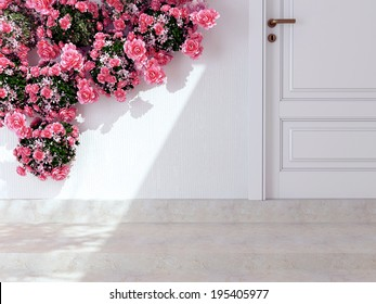 Beautiful roses in front of white wall. Entrance of a house.