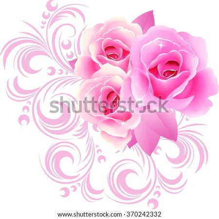 Beautiful Roses Ornaments Design Greeting Cards Stock Illustration