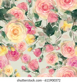 Beautiful Roses seamless pattern. Watercolor hand painted illustration.