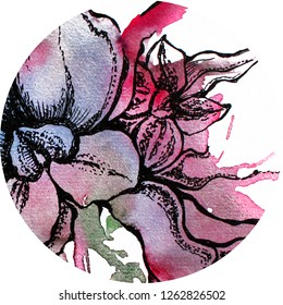 Beautiful round floral watercolor and graphic design,hand painted