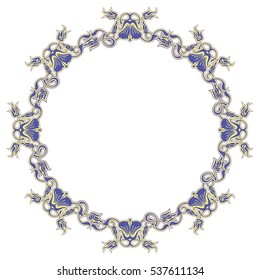 Beautiful round frame with blue decorative flowers. Design element for advertisements, flyer, web, wedding and other invitations or greeting cards. Raster clip art.