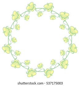 Beautiful round frame with decorative flowers. Design element for banners, labels, greeting cards and wedding invitations. Copy space. Raster clip art.