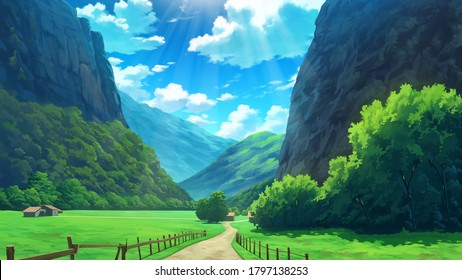 Beautiful Rural Village Mountain Nature Anime Background Landscape Illustration