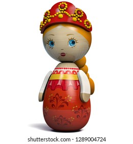 Beautiful Russian Girl Character Doll. Kokeshi Doll Inspired by Russian Traditional Matryoshka Dolls Design.