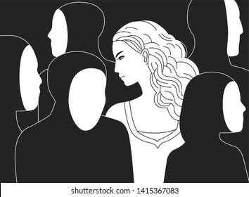 Beautiful sad long-haired woman surrounded by black silhouettes of people without faces. Concept of loneliness in crowd, alienation, estrangement, indifference. Monochrome illustration