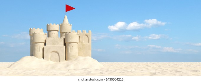 Beautiful sandcastle on the beach with sand on summer vacation (3d rendering)