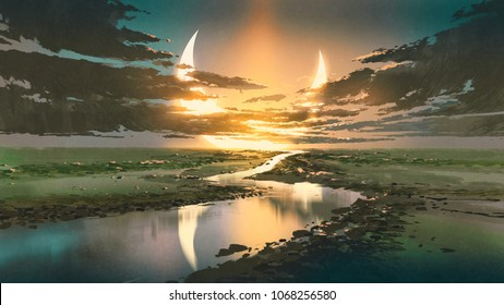 beautiful scenery of water road in colorful rustic place against black clouds and crescent moon in the sky, digital art style, illustration painting