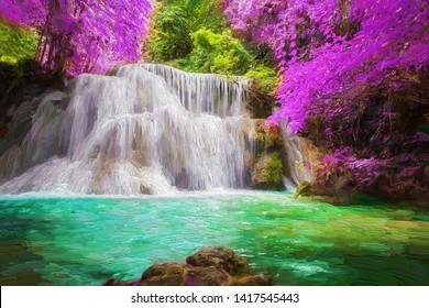 The beautiful scenery of waterfall and colorful forest in the afternoon time. Abstract digital oil painting.