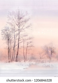Beautiful scenery, winter snow, trees, winter sky,nightfall,