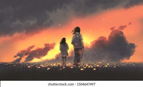 schöne Landschaft des jungen Paares, das auf blühender Wiese steht und Sonnenuntergangshimmel anschaut, digitale Kunststil, Illustrationsmalerei