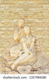 Beautiful sculpture of two lady stone engraving ivory decorative background 3D emboss artwork wallpaper-Illustration