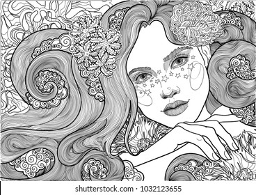 beautiful sea goddess, mermaid, girl among flowering algae, coloring