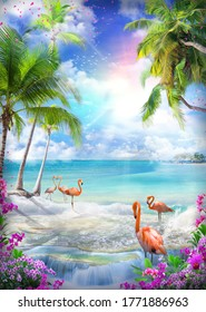 Beautiful sea view from the garden of orchids and palm trees. Pink sunset and flamingos on the shore. Paradise Island. Digital collage, mural and fresco. Wallpaper. Poster. Modular panno. 3d render.