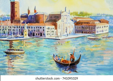 Beautiful sea view of traditional San Giorgio Maggiore island, Venice, Italy with historic view Italy, Illustration landmark of the world, Watercolor landscape original painting multicolored on paper.