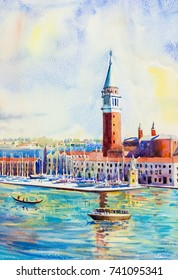 Beautiful sea view of traditional San Giorgio Maggiore island, Venice, Italy with historic view Italy, Illustration landmark of the world,Watercolor landscape original painting multicolored on paper.