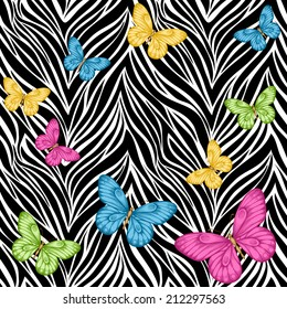 Beautiful seamless background. butterflies on animal zebra abstract print. Perfect for greeting cards and invitations of the wedding, birthday, mother's Day. Many similarities to the author's profile