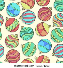 Beautiful seamless background with scattered Christmas decorations and balls. for greeting card and invitation of the merry christmas and happy new year