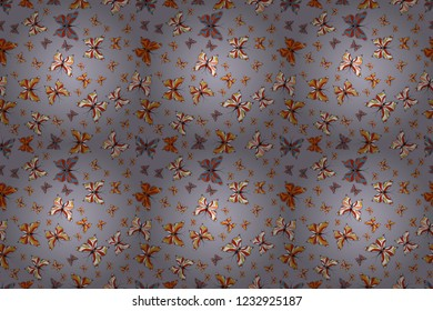 Beautiful seamless butterfly iterative texture isolated on contrast back layer. Wildlife insect fauna backdrop for cover. Nature butterfly repeat theme in gray, orange and white colors. Raster sketch.
