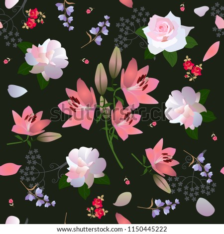 Beautiful Seamless Floral Ornament White Roses Stock Illustration