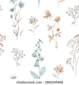 Beautiful seamless floral pattern with watercolor autumn fall flowers. Stock illustration.