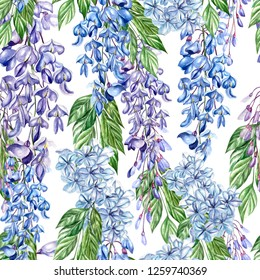 Beautiful seamless floral summer pattern background with tropical flowers, wisteria. Perfect for wallpapers, web page backgrounds, surface textures, textile.