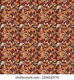 Beautiful seamless flower pattern in stained-glass window style (brown, gray and red colors). You can use it for invitations, postcards, cards, wallpapers and so on.