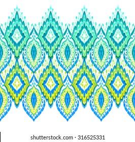 Beautiful seamless ikat border. Horizontal lace paisley embroidered trim. Detailed ornamental traditional border.