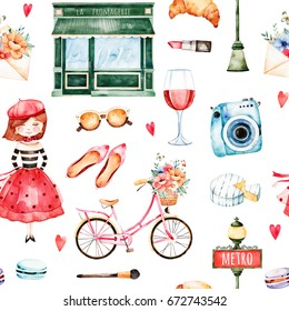 Beautiful seamless pattern with camera,lipstick,hat,bike,young girl,red wine,sunglasses,letter,macaroons and much more.Watercolor Paris set.Perfect for wallpaper,print,cover design,invitations