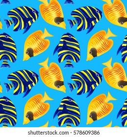 Beautiful Seamless pattern with colorful watercolor fishes. Hand-drawn watercolour elements. Sea life.