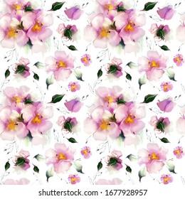 beau motif harmonieux de fleurs roses délicates