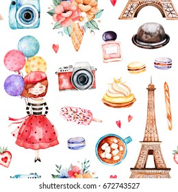Beautiful seamless pattern with Eiffel tower,camera,sweets,hat,bouquets,perfume,young girl,multicolored ballons and much more.Watercolor Paris set.Perfect for wallpaper,print,cover design,invitation