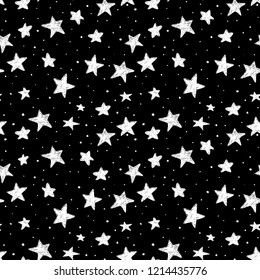silver glitter stars seamless pattern scattered stock vector Dark Blue Background Design beautiful seamless pattern hand drawn doodle stars black and white isolated on background night sky