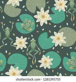 Beautiful seamless pattern with hand drawn frogs and water lilies. Gothic style.